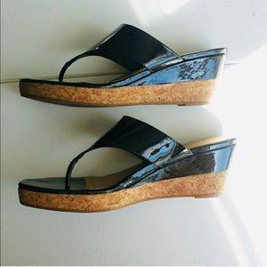 ANTONIO MELANI ~ patent leather & cork wedges